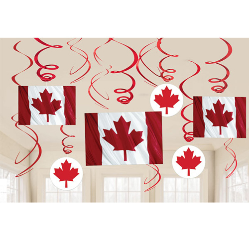Happy Birthday 'Canadian Flag' Hanging Swirl Decorations