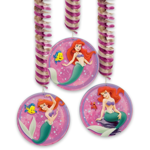 Ariel the little mermaid foil hanging swirl decorations 3ct for Ariel christmas decoration