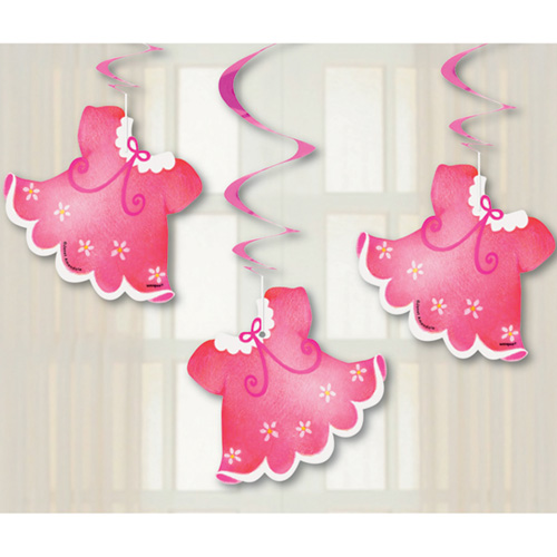 Baby shower 39 clothesline pink 39 hanging decorations 3pc for Baby shower decoration cutouts