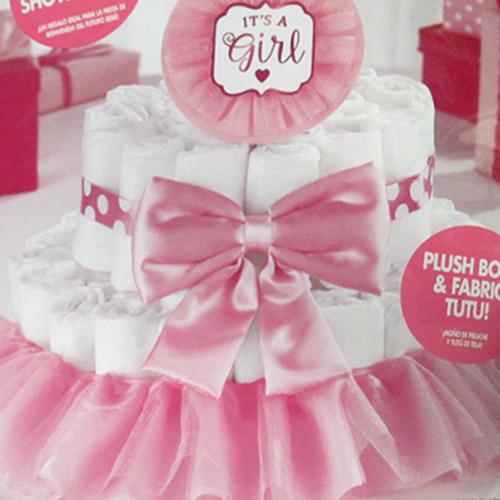 Baby Shower Baby Girl Deluxe Diaper Cake Kit 4pc