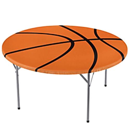 basketball round plastic table cover w elastic edge 1ct