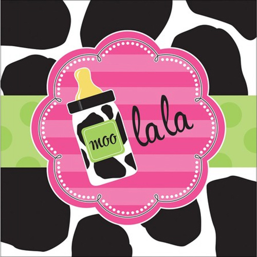 Baby Shower Cow Print Girl Lunch Napkins 16ct