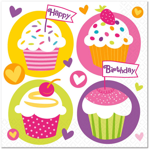 Happy Birthday 'Cupcake Party' Lunch Napkins (16ct
