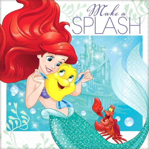 Birthday Table Acnl: Ariel The Little Mermaid 'Dream Big' Small Napkins (16ct