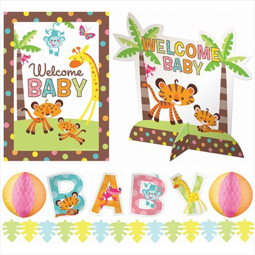 Fisher price baby shower room decorating kit 10pc for Animal decoration games for girls
