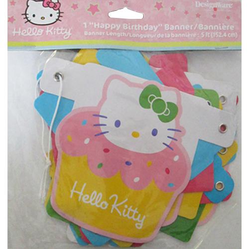 Hello Kitty 'Cupcake' Happy Birthday Banner (1ct