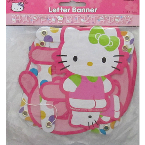 Hello Kitty 'Rainbow Stripes' Happy Birthday Banner (1ct
