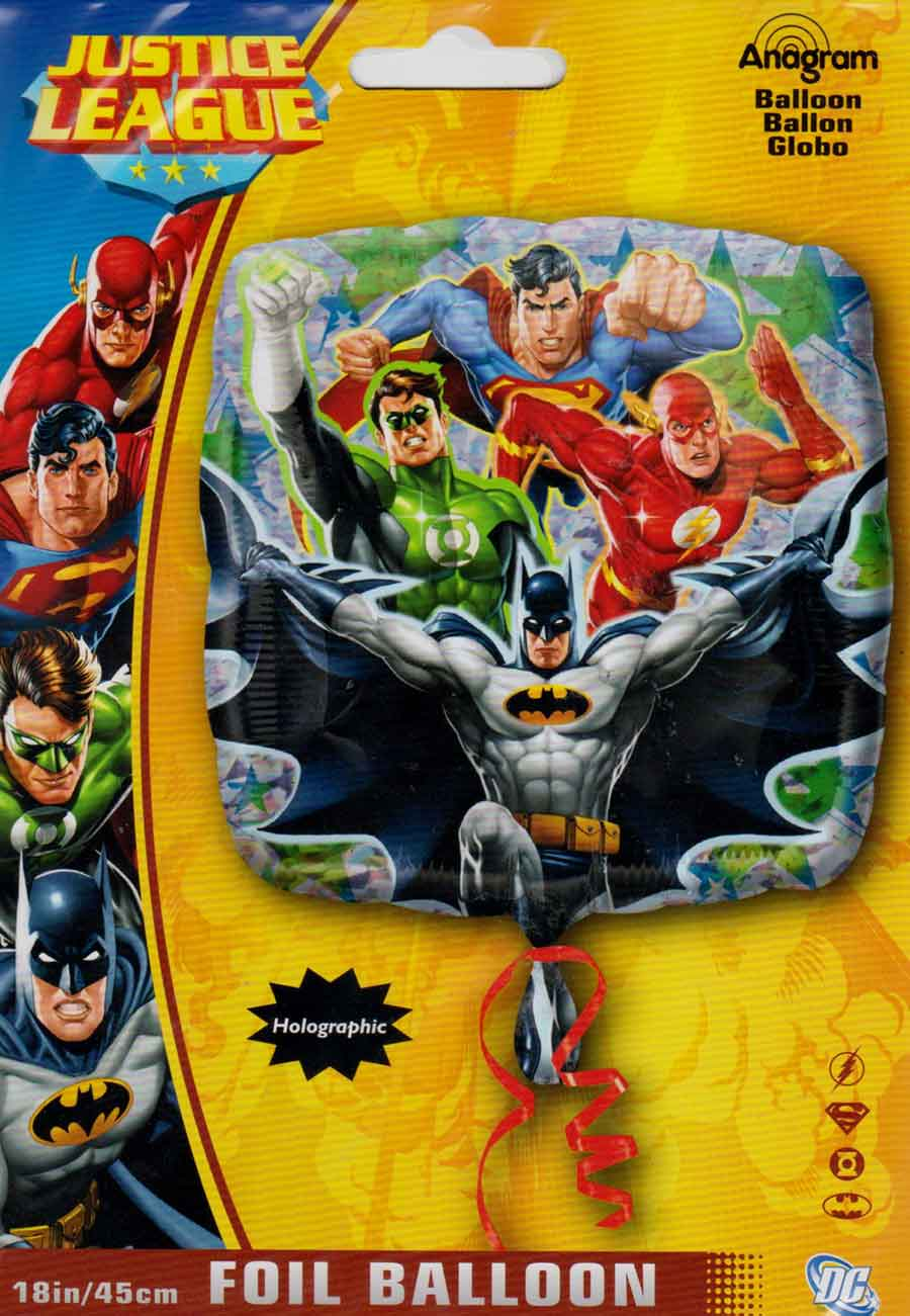 Justice league square foil mylar balloon ct