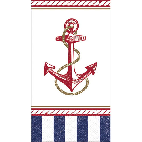 Nautical Guest Towels: Summer 'Nautical Anchors Aweigh' Guest Napkins (16ct