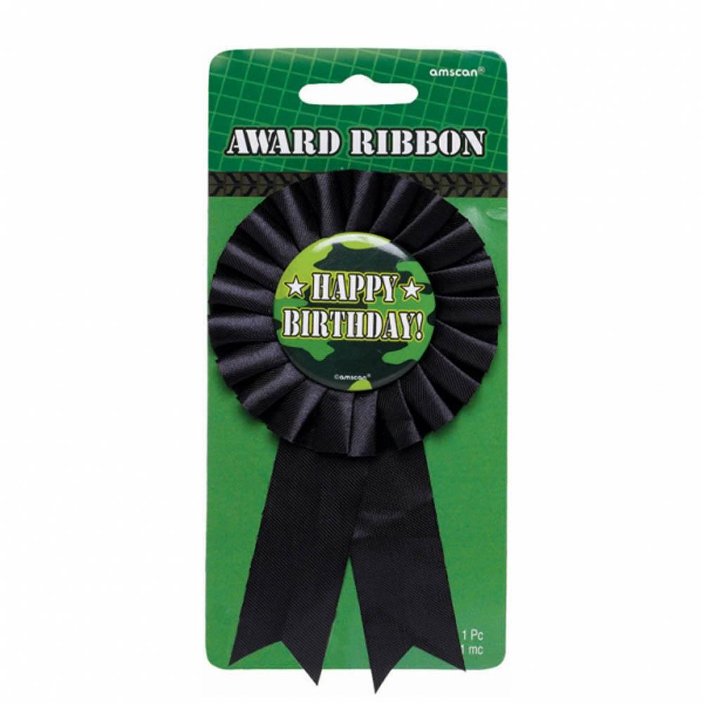 Military Camouflage Birthday Award Ribbon (1ct