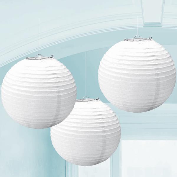 White paper lanterns 3ct - Farolillos de papel ...