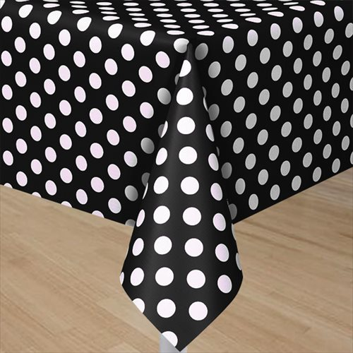 Black polka dots plastic table cover 1ct for Black and white polka dot decorations