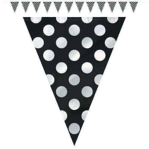 Black polka dots flag banner 12ft for Black and white polka dot decorations