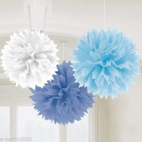 Blue and white large fluffy pom hanging decorations ct