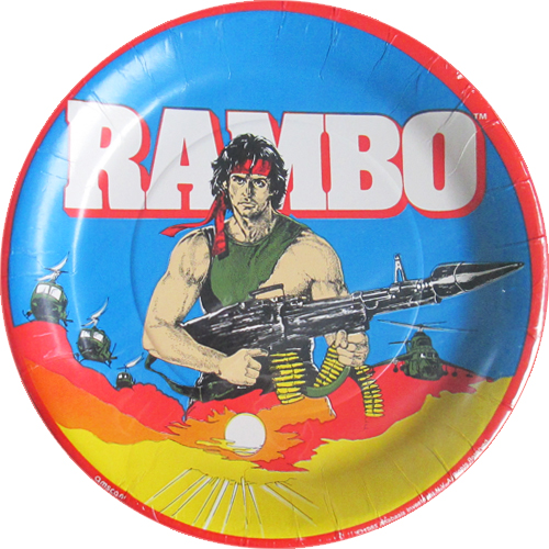 Rambo Vintage 1985 Large Paper Plates 8ct