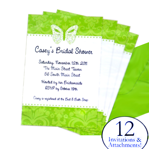 Bridal shower 39blushing bride39 green imprintable invitations 12ct for Imprintable bridal shower invitations